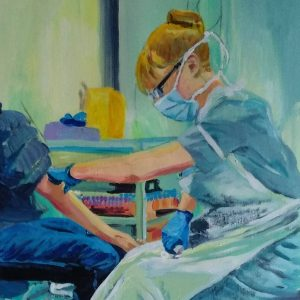 Sarah taking blood, Giclee on canvas